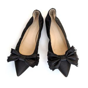 J. Crew Lottie Black Satin Frayed Bow Flats Shoes